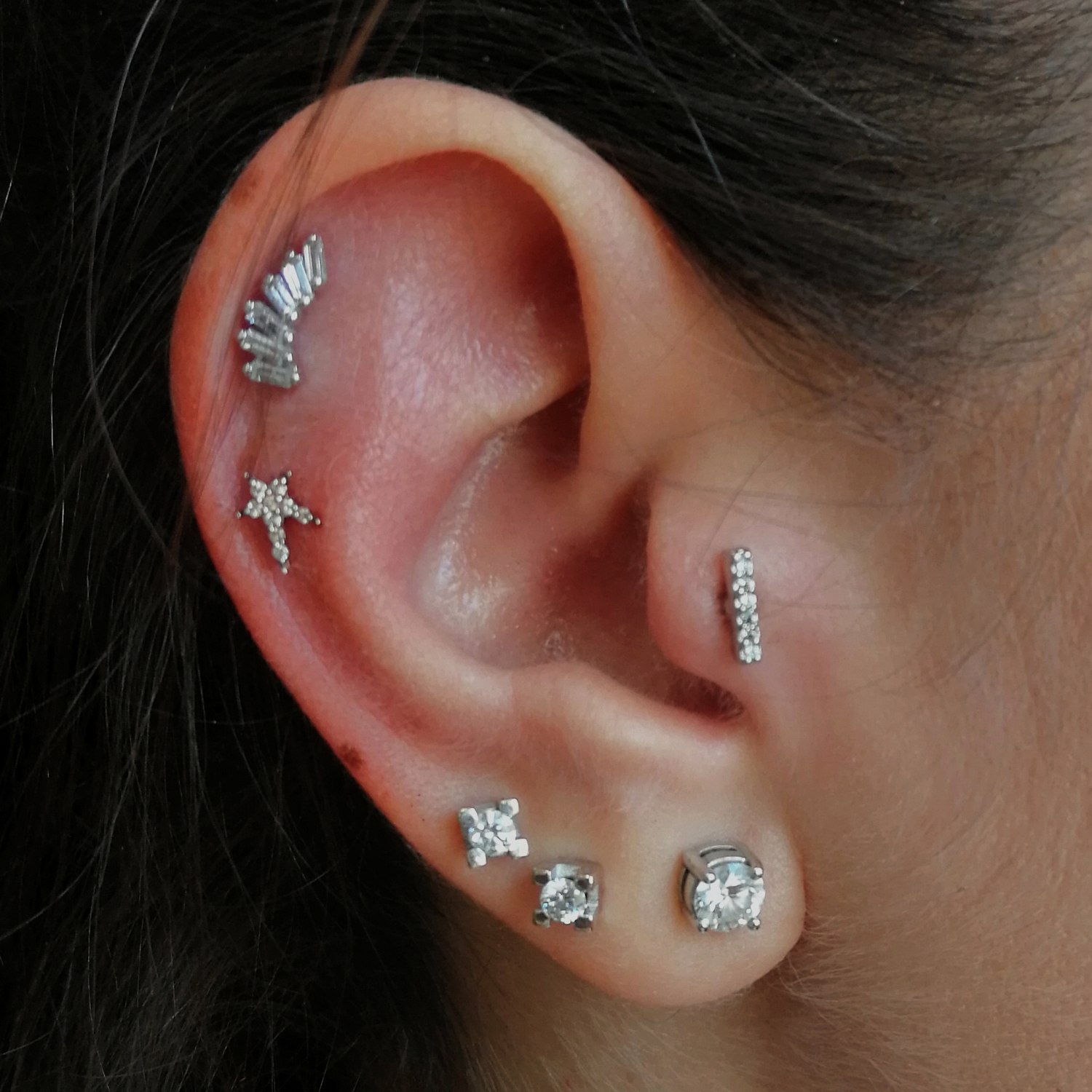 tragus,double,helix,piercing
