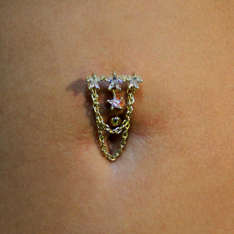 dangle,star,navel,piercing