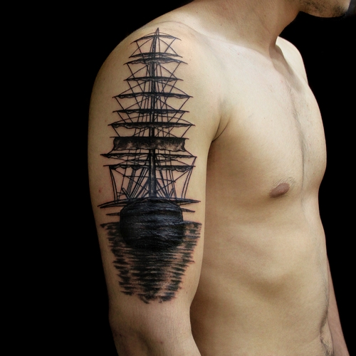 ,korsan,gemi,dovmesi,pirate,ship,tattoo