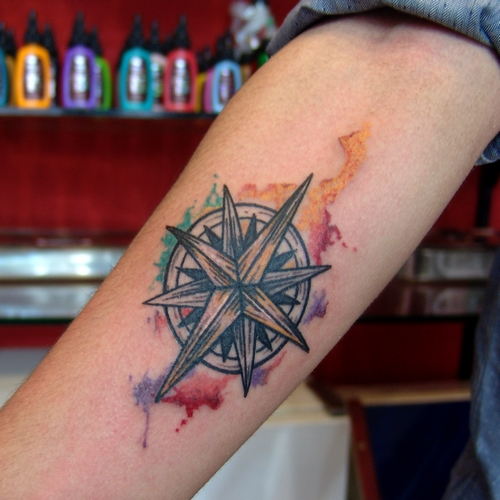 watercolor,compass,tattoo,pusula,dovmeleri