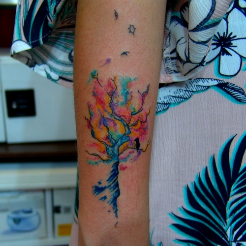 watercolor,tree,tattoo,agac,dovmesi